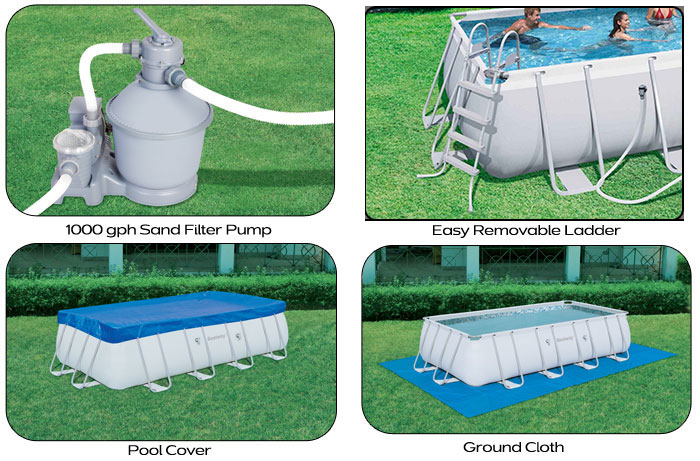Bestway Steel Frame Above Ground Swimming Pool 18ft 56468 Sand Filter Pump Ebay