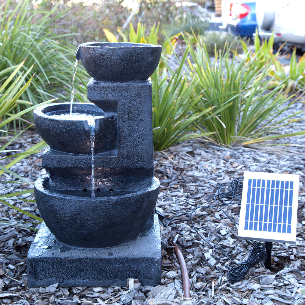 Solar Panel Powered 3 Tiers Water Feature Fountain Led Light Garden Outdoor Ebay