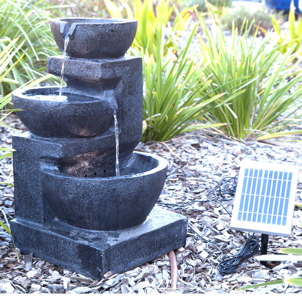 solar panel powered 3 tiers water feature fountain led. Black Bedroom Furniture Sets. Home Design Ideas