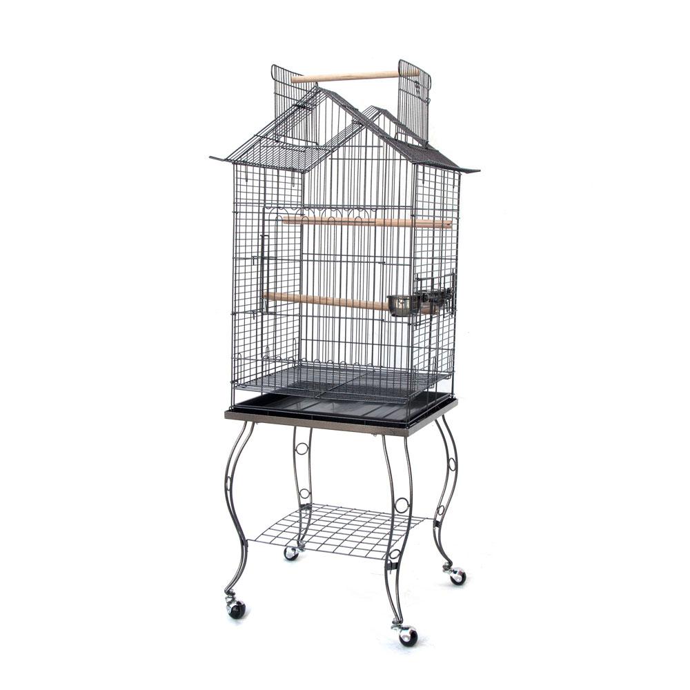 open roof parrot lovebird cockatiel cockatiels parakeets bird cage with stand ebay. Black Bedroom Furniture Sets. Home Design Ideas